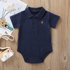 ABC KIDS summer new polo shirts baby romper new born baby clothes 100% cotton rompers OEM plain baby rompers