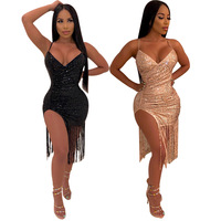 SAK8817 ready to ship club wear party wear tassels spaghetti straps mini hot girl sexy gold sequin dress