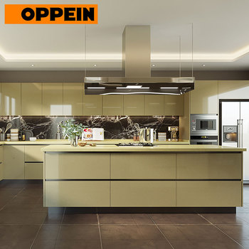 OPPEIN China Contemporary Fitted High Gloss Laminate Kitchen Furniture Set