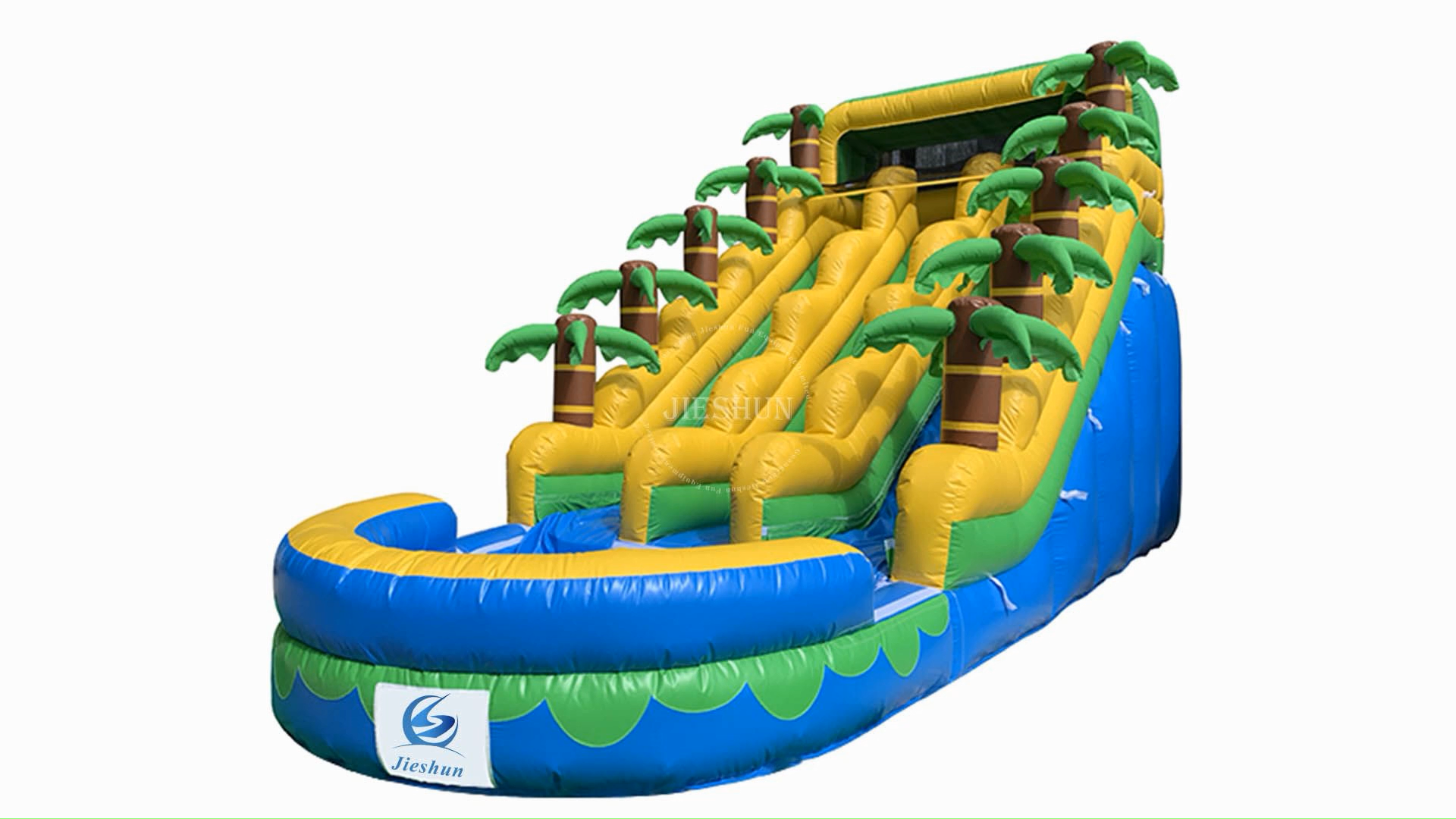 Commercial Kids Dual Lane Slip and Slide Palm Tree Theme Inflatable Water Slide with Pool Home Kids Zone Garden