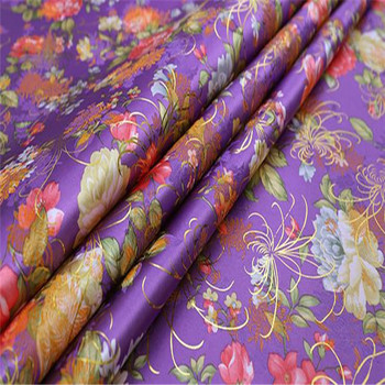 150cm Width Peony Flowers Jacquard With Gold Lurex Beautiful Brocade Fabric for Wedding Dress