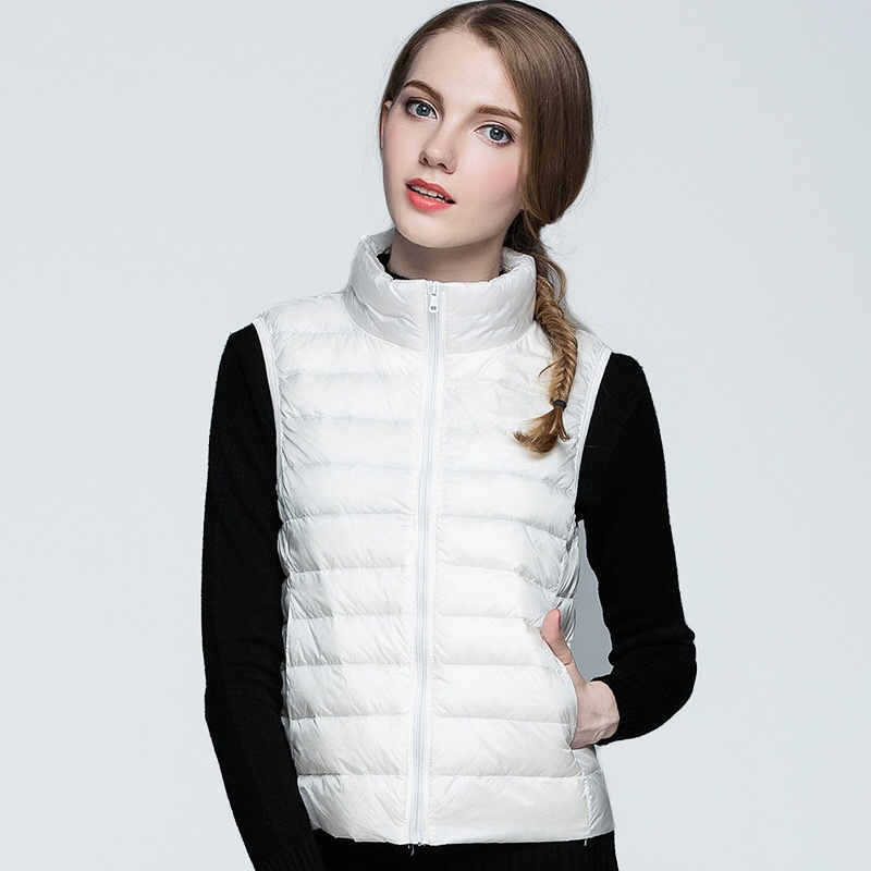 OEM Custom Logo Outdoor Sleeveless Pocketable Women's Lightweight Goose Duck Feather Woman Winter Down Vest