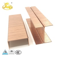China Hardware Factory Wholesale Low Price High Quality 32MM 16GA Copper Plated Carton Staple U-Type Nail