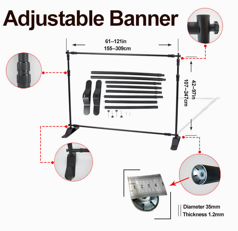Custom Size 10Ft Portable Tension Fabric Event Custom Step And Repeat Banners Backdrop Photography Stand