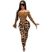 ANJAMANOR, сексуальный комплект из двух предметов, боди и штаны, леггинсы, с животным принтом, обтягивающие наряды, вечерние, Клубные, подходящие ...(Китай)