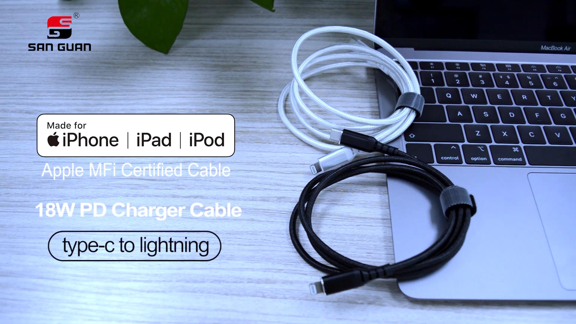 """מפעל Mfi מוסמך Usb סוג C כדי ברקים כבל C94 E-מארק פ""""ד 18W תשלום מהיר 1M 2M עבור Iphone Ipad Ipod"""