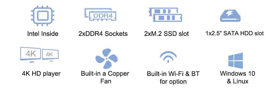 2 Intel LAN i9 9880H 4,8G CPU Gamer PC 8 Core Mini ITX PC servidor Estación de escritorio de juegos computadora 4K HD Oficina mini pc