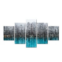 Abstract Landscape Winter Tree Artwork Picture Canvas Print 5 Panels Wall Painting