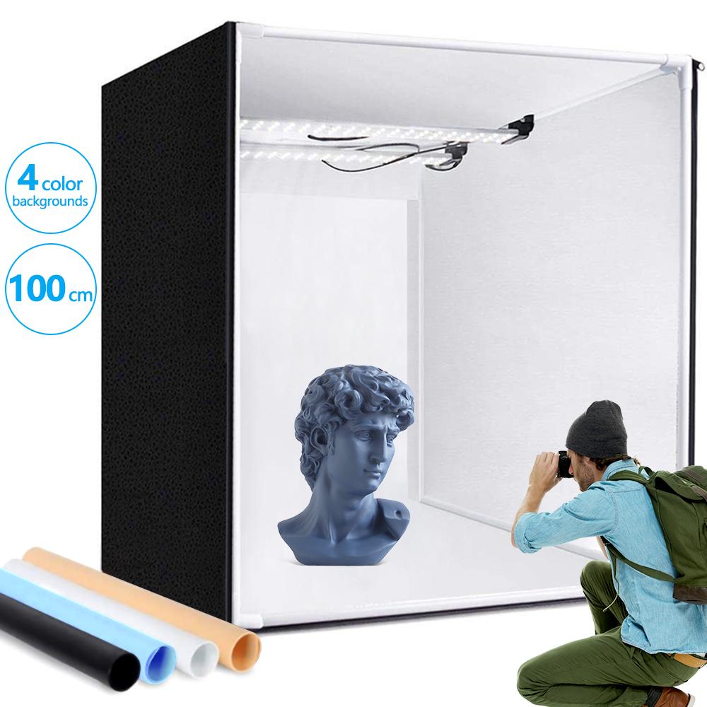 Travor 100cm product photography professional 2led photobox white led light box fotografia hd portable studio cube photo box