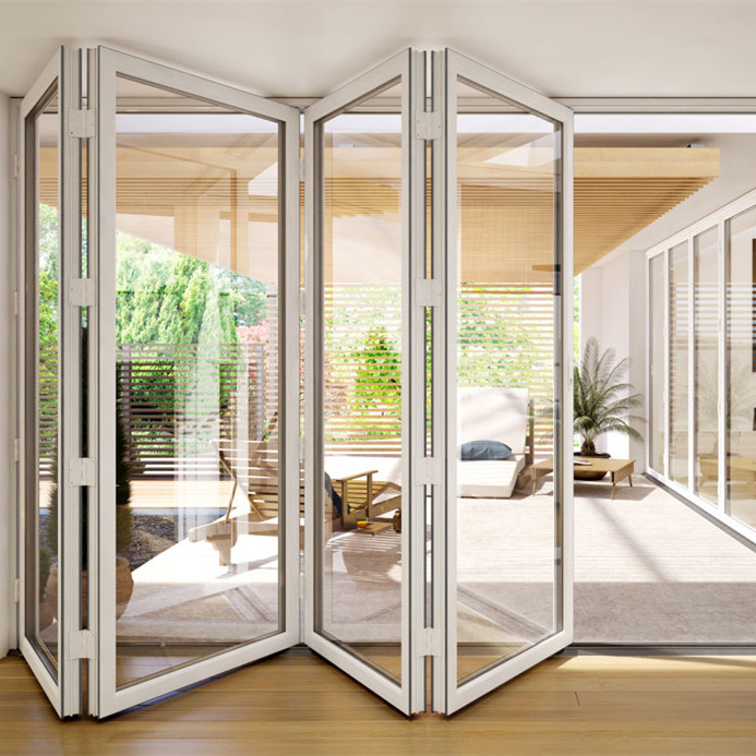 Customized bifold door interior double glass doors with internal blinds for apartments