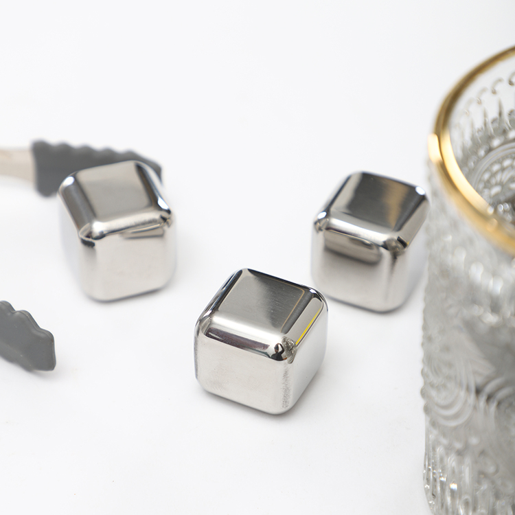 Wholesale cheap durable whiskey stone reusable stainless steel square ice cubes for drinking