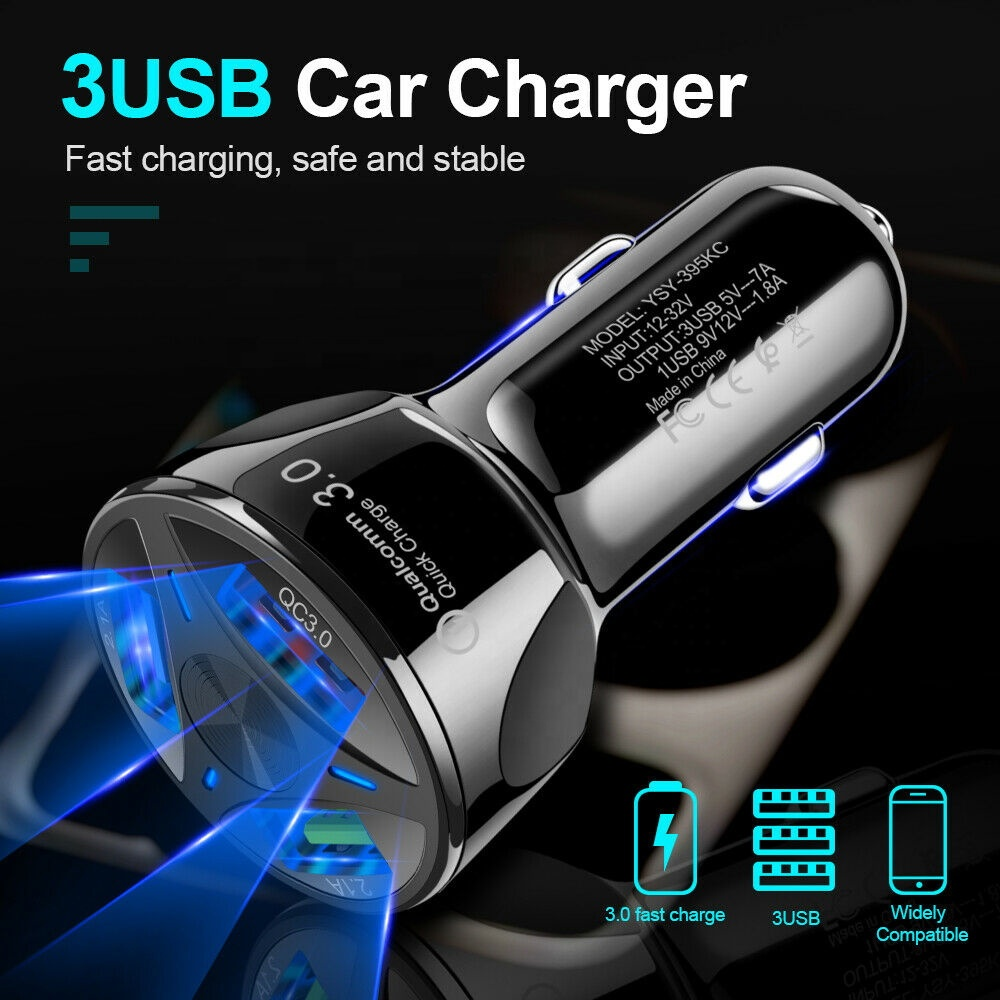 Eonline 3A Quick Charge 3.0 USB Car Charger for iPhone Samsung Xiaomi Car Charger Fast QC 3.0 QC 4.0 Mobile Phone Charger USB