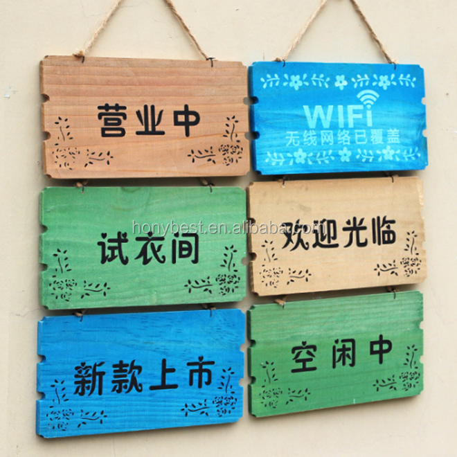 Welcome,Open and Close Blank Unfinished Wooden Door Sign Board Custom with Jute Rope