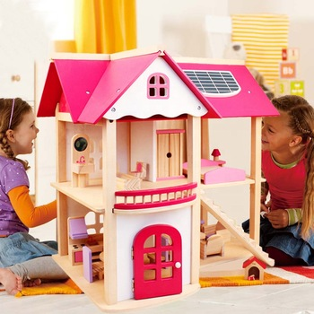 Wooden Houses Pretend Toy Wooden Doll House/ Kids Wooden Doll Villa with Doll Room Furniture dollhouse