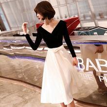 It's Yiiya платье для выпускного вечера с v-образным вырезом велюровое платье с длинным рукавом размера плюс Vestidos De Gala LF172 лоскутное платье разме...(China)