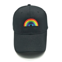 Black fitted rainbow baseball hat