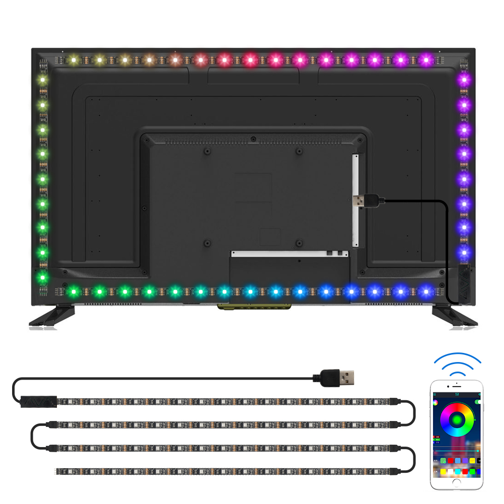 RGB factory led strip lights 2M flexible 5050 smd USB colorful led backlight strip for TV