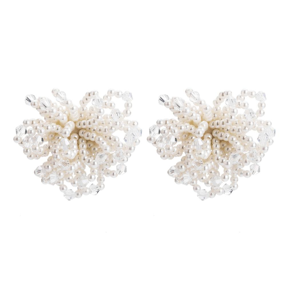 EH9345 New Arrival Elegant White <strong>Pearl</strong> Cluster Flower <strong>Stud</strong> <strong>Earrings</strong> For Women