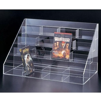 4 Tiers Clear Acrylic Magazine Holder, Clear Acrylic CD DVD Rack Step Riser Model Design