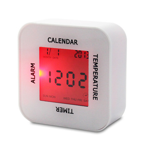 Promotional Gifts Table Electronic Calendar 7 Color Change Led Digital Lcd Alarm Clock