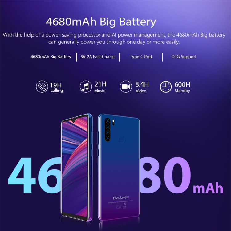 In Stock Blackview A80 Pro 4GB+64GB Android Smartphone 6.49 Inch 4680MAh Battery 4G Dual SIM Mobile Phones