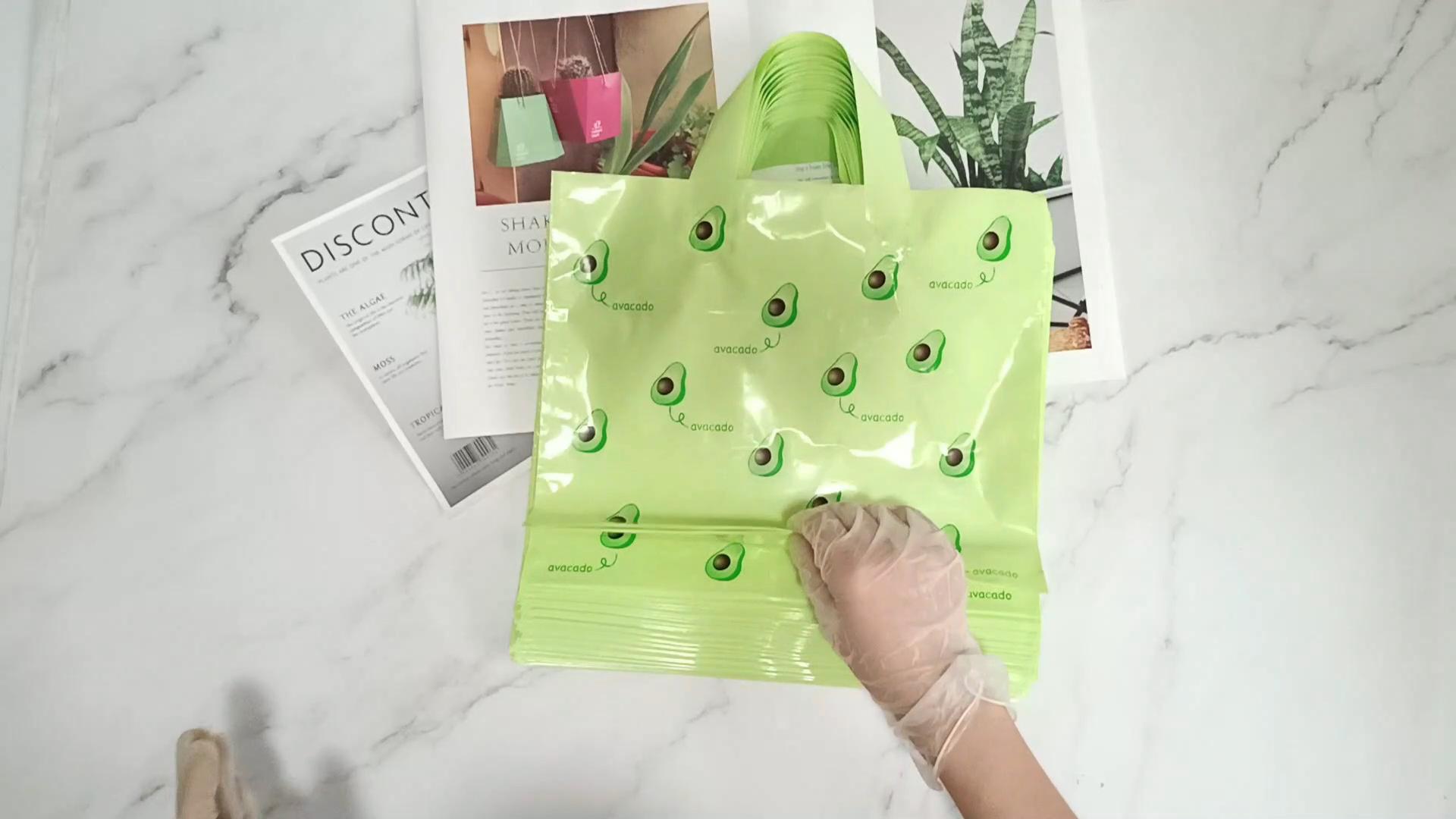Gedruckt Avocado Logo Einkaufen Kunststoff tasche Flexiloop Griff Träger Tasche shop taschen tragen taschen kunststoff mit großhandel preis