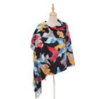 Wholesale muslim women hijab scarf digital print custom design 100% Polyester tassel scarf