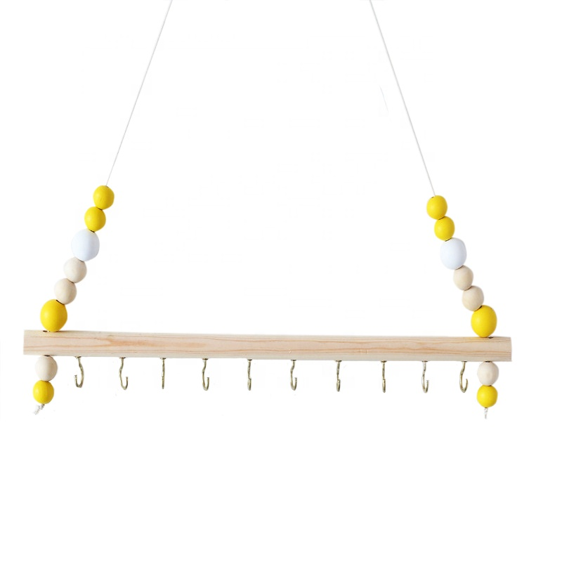 Kids room decor eco-friendly wood jewelry hair band wall storage hook with 10 hooks