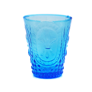 Machine pressed Water and Juice Gradient Blue Colored Glass Cup