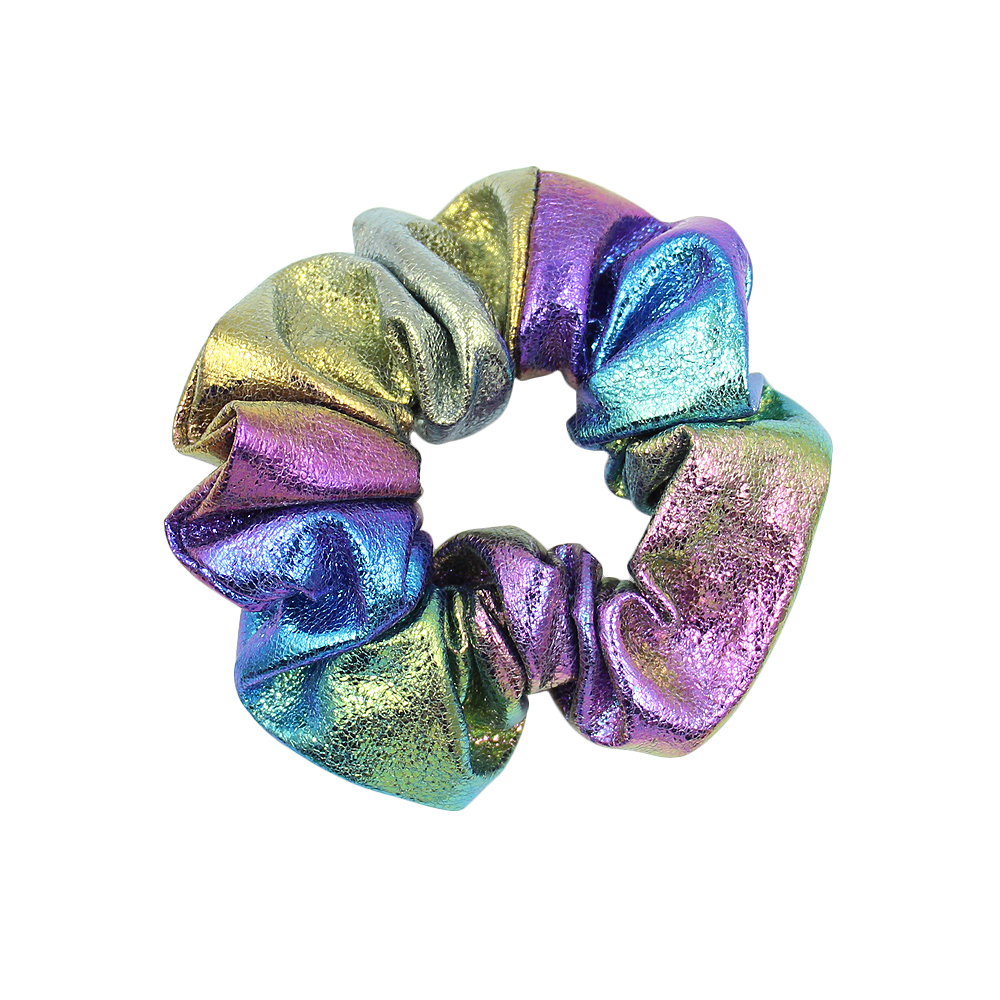 Eco Friendly Rainbow Hair Ties Shinny Pu Leather Reflective Hair Scrunchies Ponytail Holders For Girls Hair Accessories