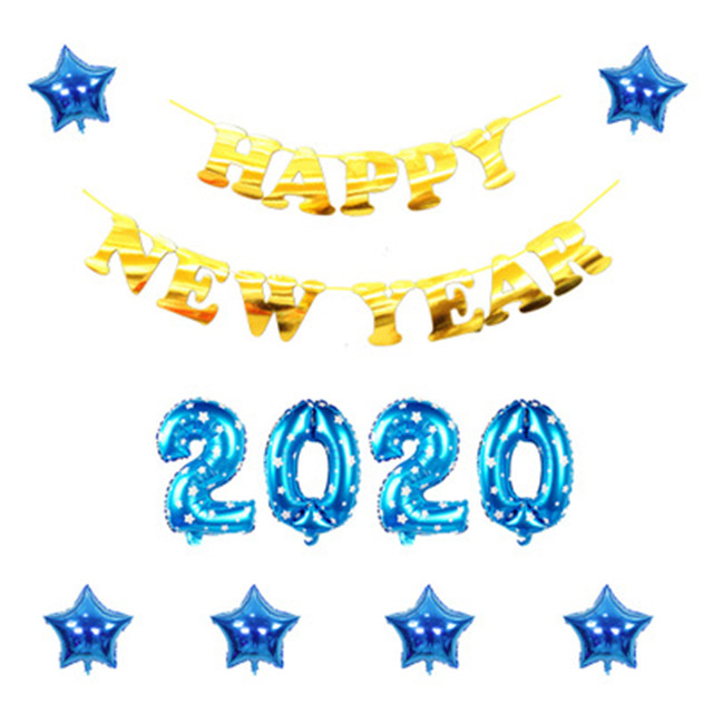 "16"" Happy New Year 2020 Banner Balloon Set Letter Number Star Combination Foil Balloon Set Christmas New Year's Party Gifts"