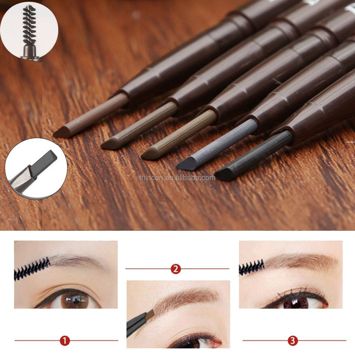 OEM Cosmetic Pigment Private Label Triangle Eyebrow Pencil With Brush