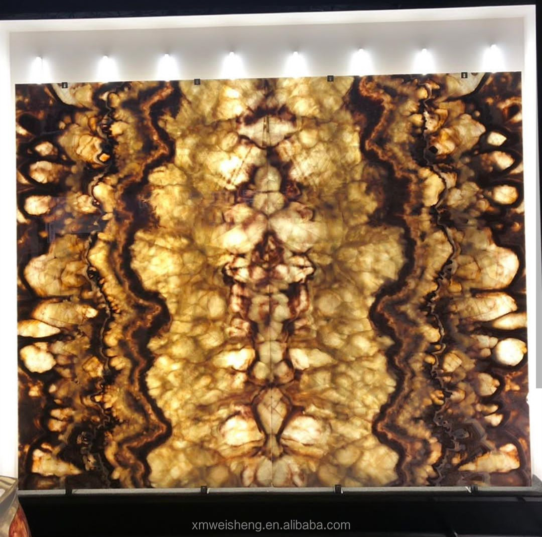 Customized yellow bookmatch translucent marble onyx slab tile m2 price