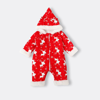 Keep warm and thickened red christmas romper baby