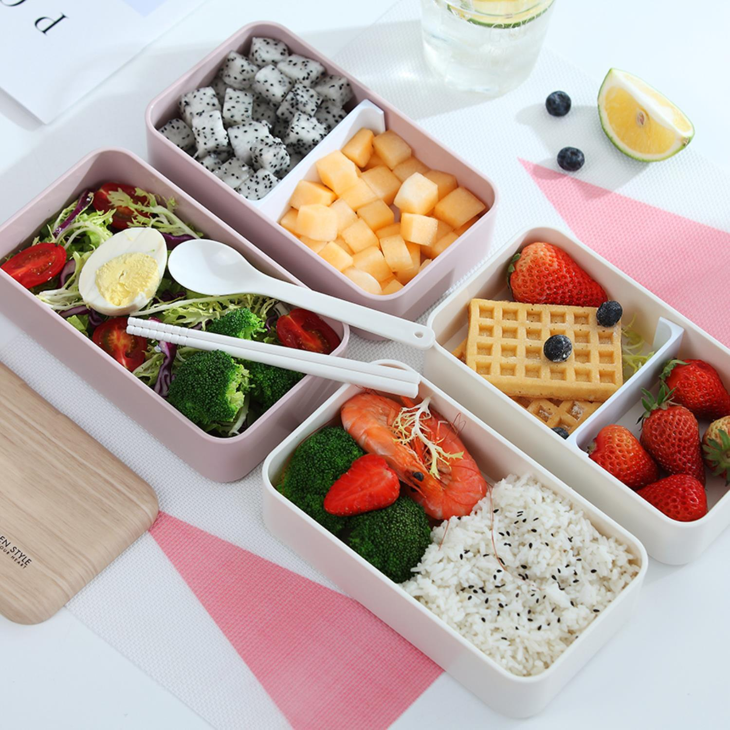 Japanese Style Eco Friendly Portable Plastic Bento Lunch Box Food Packaging Lunch Box