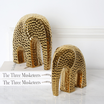 Nordic style gold painted elephant home decoration pieces ceramic living room decor accessories