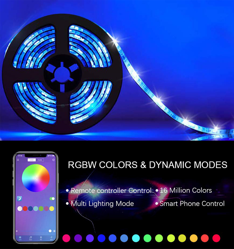 Bluetooth LED Strip Light Kit 5m LED Strip (5050SMD 60LEDs 12V RGB IP65) + Bluetooth Controller + 24key RF Remote + Power Supply