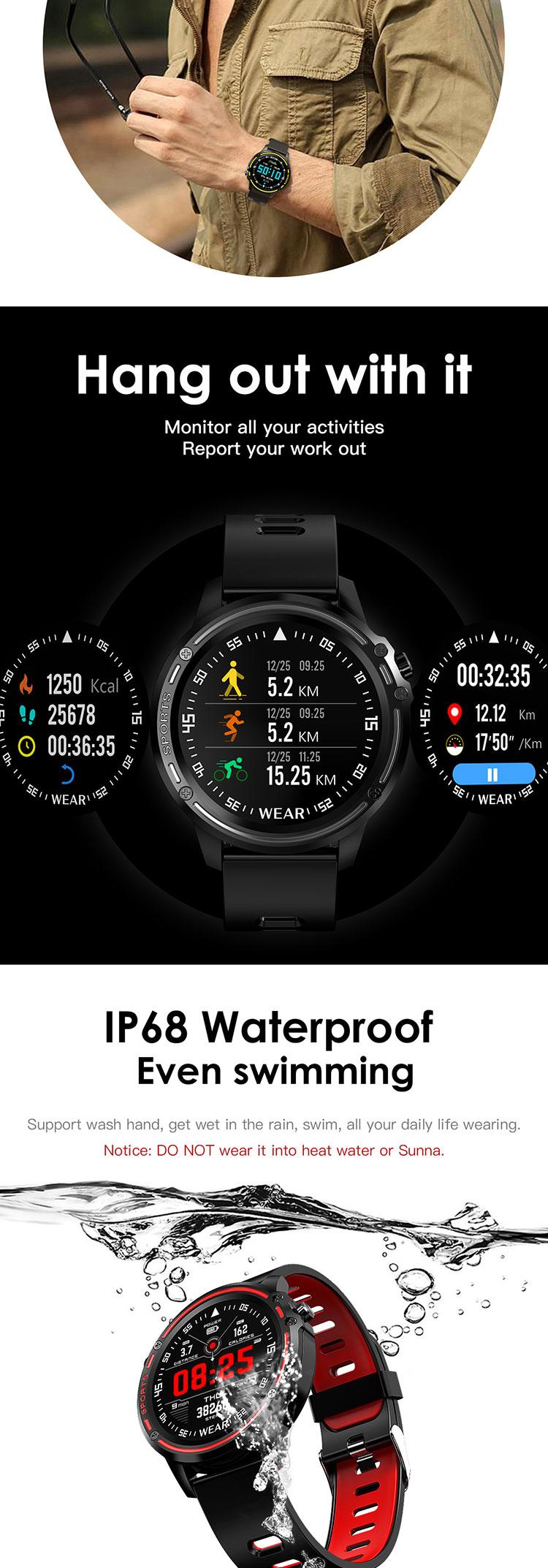 스포츠 스마트 시계 IP68 방수 보수계 피트니스 활동 추적기 심박수 혈압 모니터 ECG PPG 스마트 시계