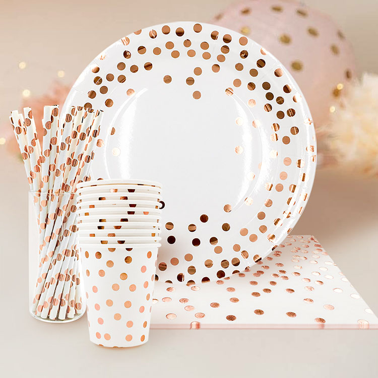Nicro 85Pcs 20 Guests Rose Gold Foil Dot Disposable Party Paper Cups Straws Napkins <strong>Plates</strong> Sets Dinnerware