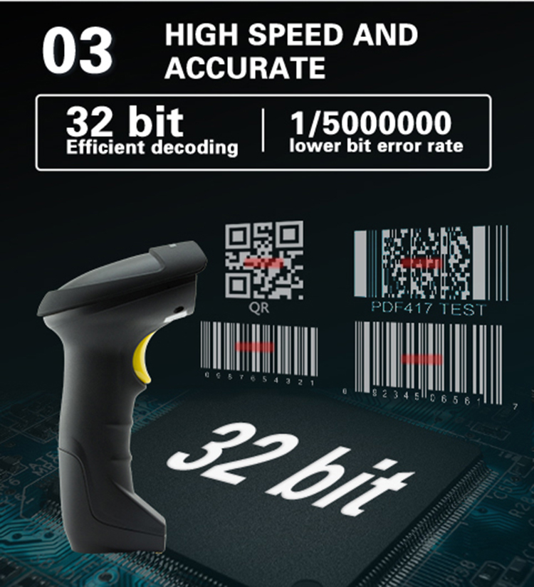 OEM ODM Auto Sensing 2.4G Wireless Bar code Reader QR PDF41 1D 2D Barcode Scanner with Memory Charging Cradle