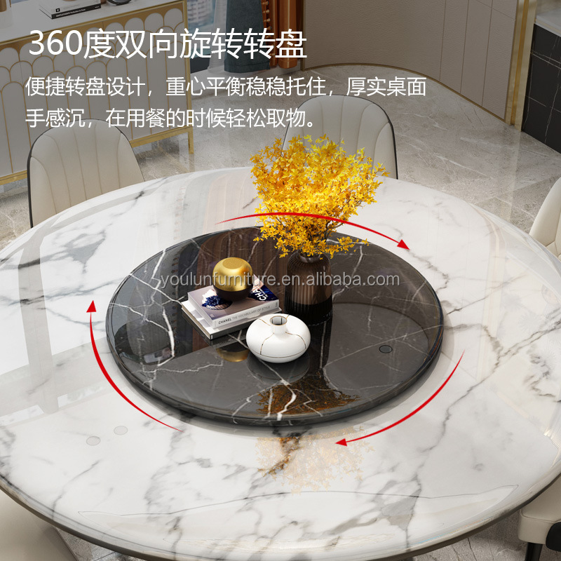 Italian Round White Marble Top Dining Table Set