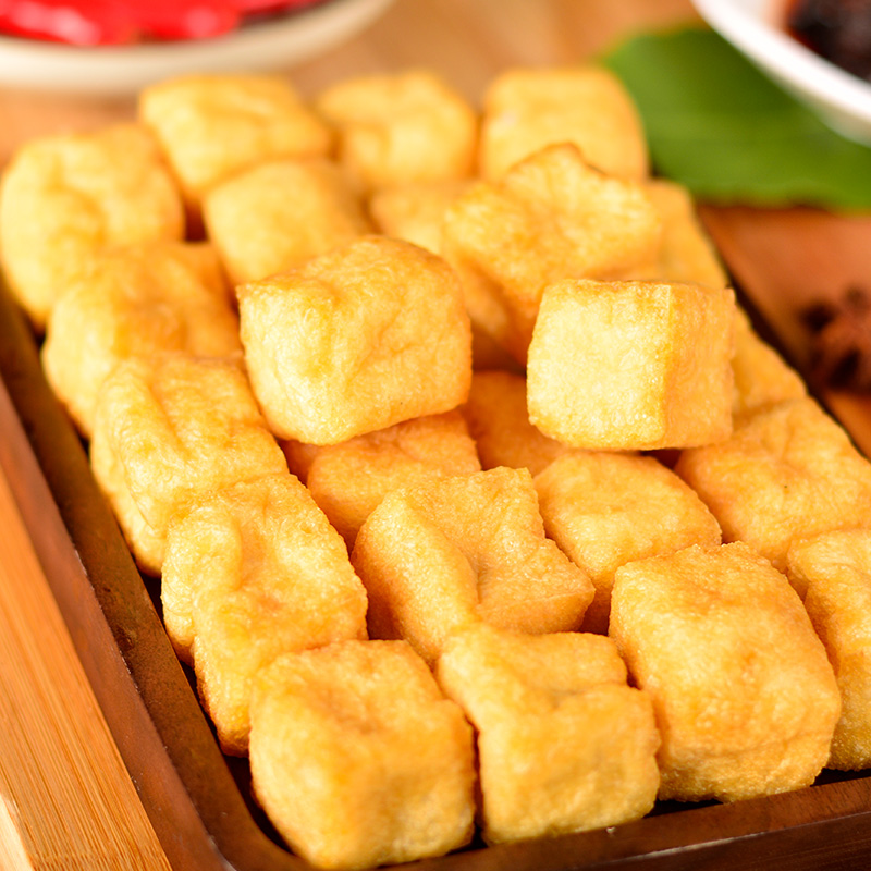 Fried bean curd hot pot ingredients with dishes shabu