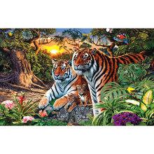 5D алмазная картина «сделай сам», «лес», «Тигр», алмазная вышивка, вышивка с животными, вышивка крестом, круглые стразы, художественный Декор ...(Китай)