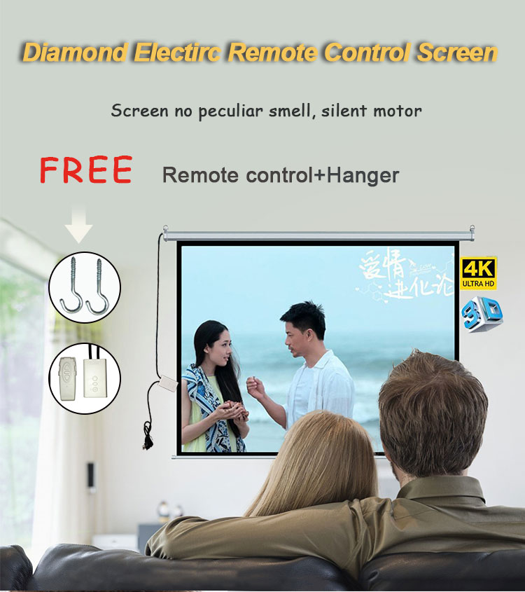 "Future Screen 72"" Hight Resolution  Motorized Electric Projection Screen 4:3 Video Format Suitable For many Scene"
