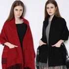 2020 Wholesale Winter Dual Use Cashmere Plain Plaid Tassels Scarf Women Double Sided Thick Pocket Shawl