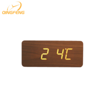 Big size rectangle shape wooden clock LED digital style time temperature date display wooden alarm clock