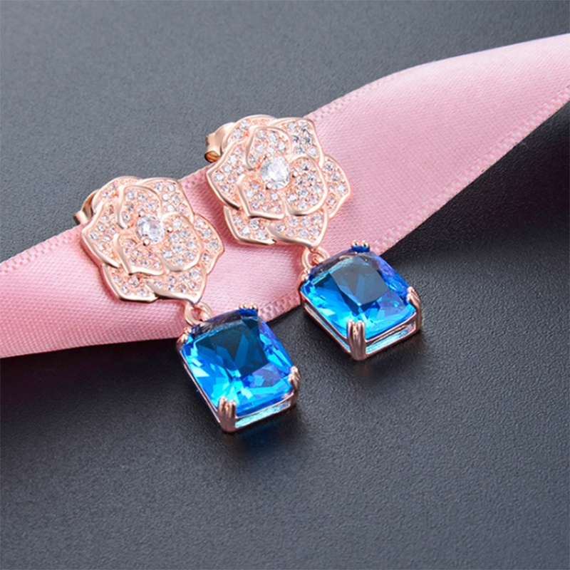 2020 charm 925 sterling silver girl zircon synthetic <strong>crystal</strong> Rose flower earring