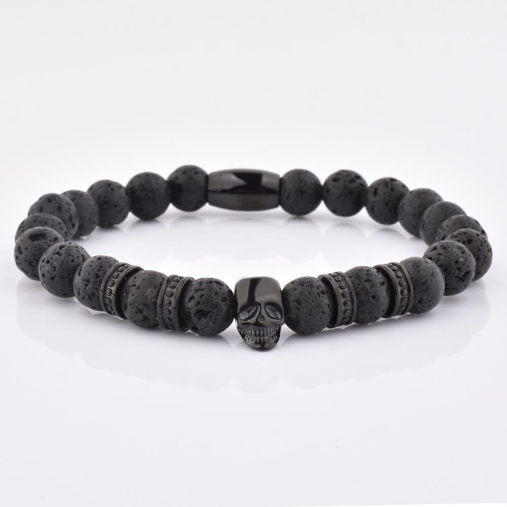 Năng Lượng Sang Trọng Hạt Tự Nhiên Lava Đá Vòng Đeo Tay Người Đàn Ông Đen Skull Bracelet