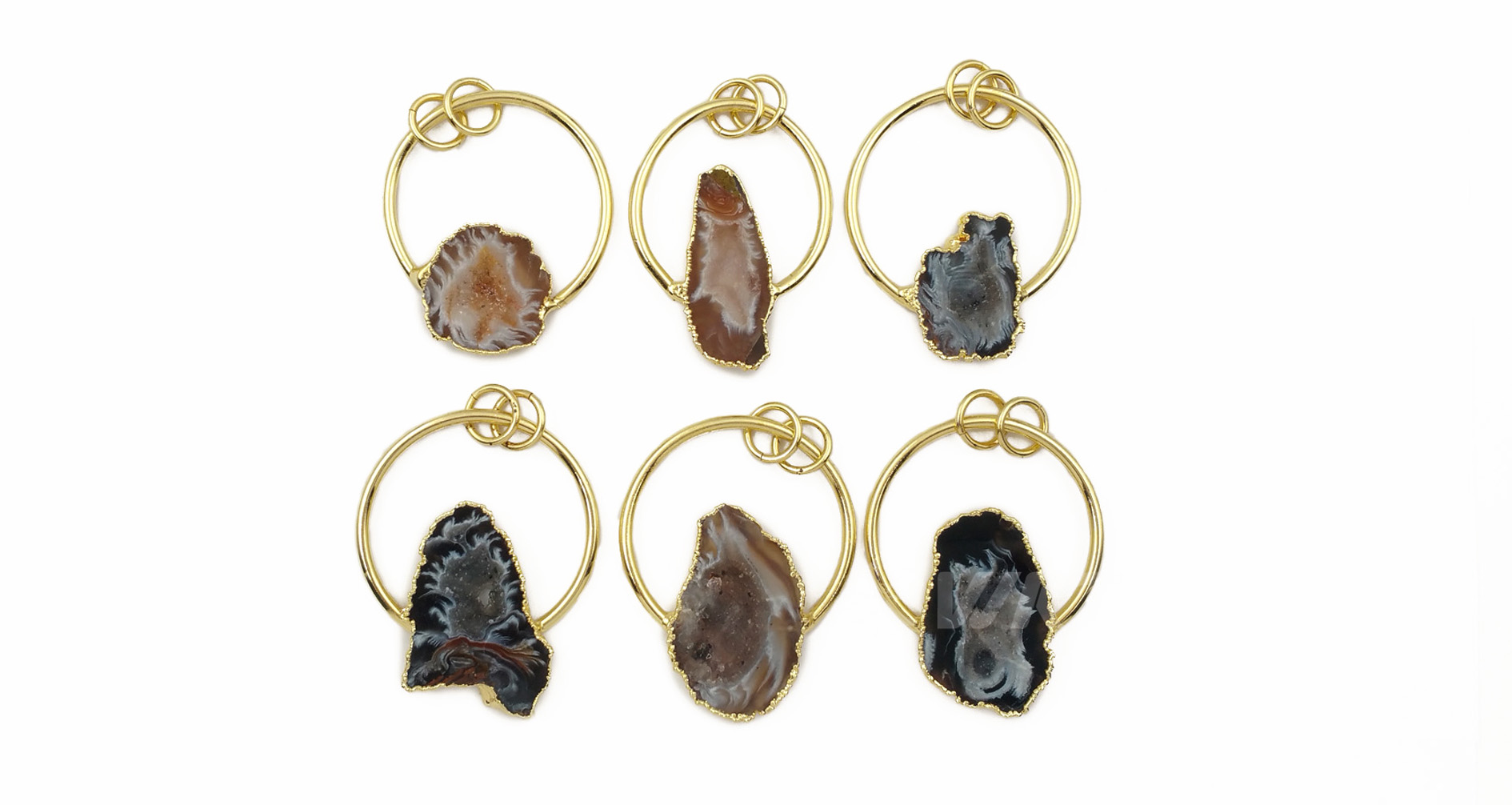WT-P1455 wholesale Natural druzy geode agate Pendant with Golden Circle Women Necklace ornaments Jewelry