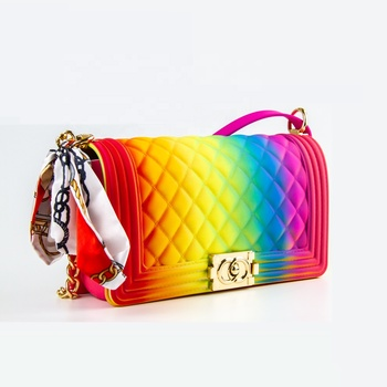 Fashion beach ladies rainbow color jelly purse crossbody hand bags new designer handbags for women 2019